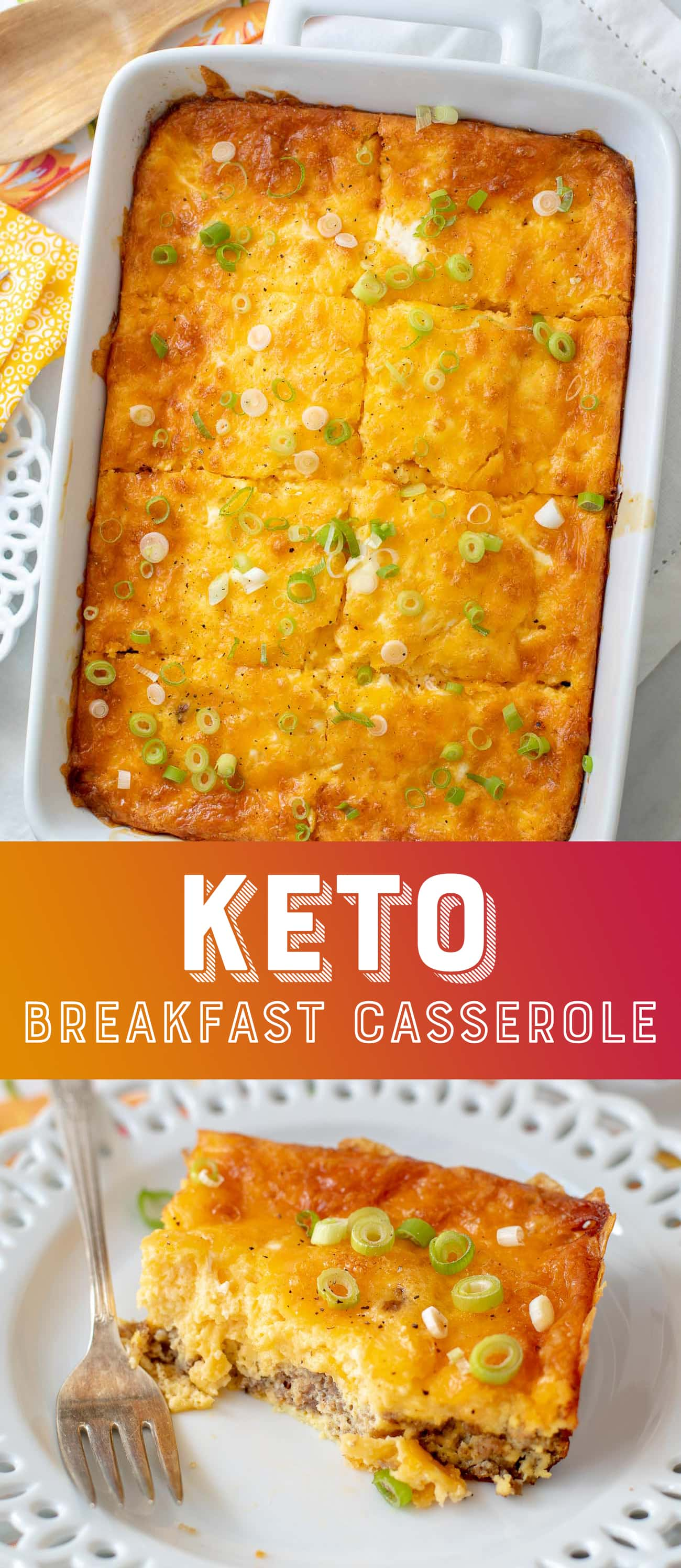 Keto Breakfast Casserole Recipe - Low Carb Egg Casserole - Breakfast Casserole - Ketogenic - Diet #Keto