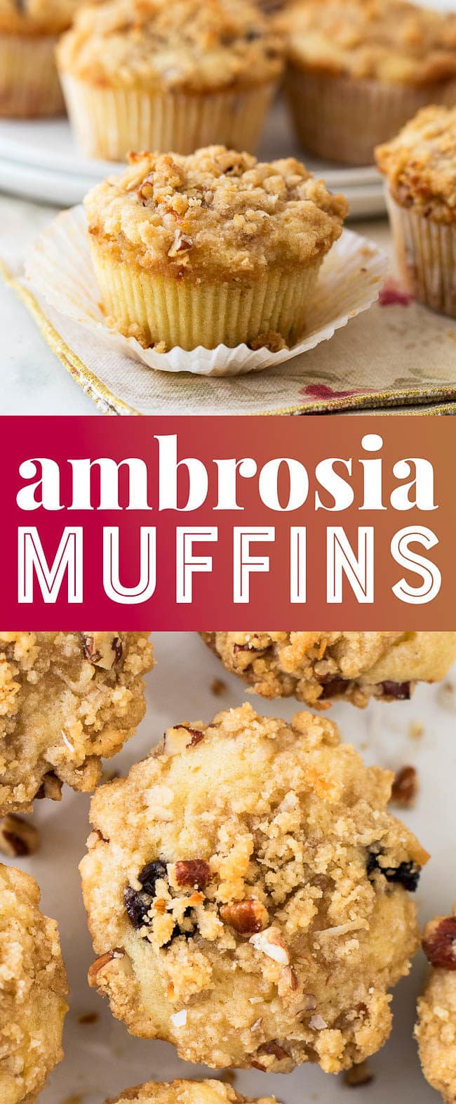 Ambrosia Muffins are filled with sweet coconut, cherries, and pecans!