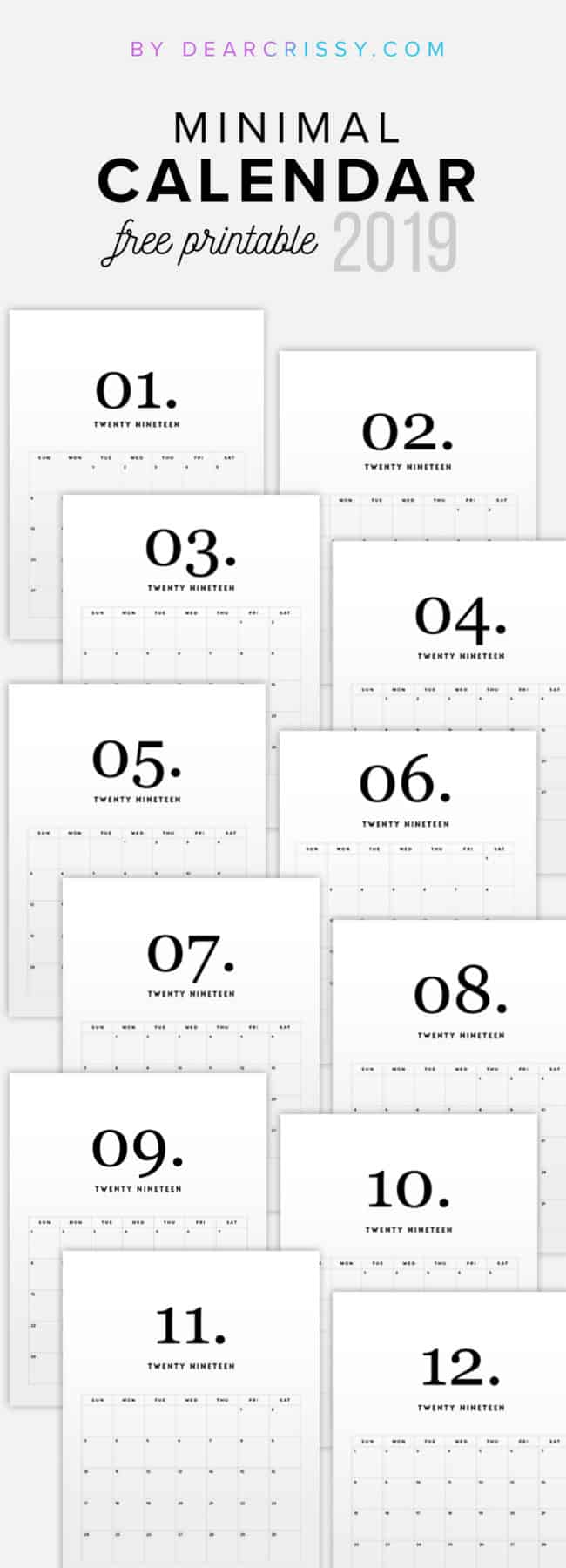 Free Printable 2019 Minimal Calendar - Modern Calendar - Minimalist Calendar - Clean White Calendar 2019 - #2019Calendar #Printable #Calendar #minimalist #modern #simple