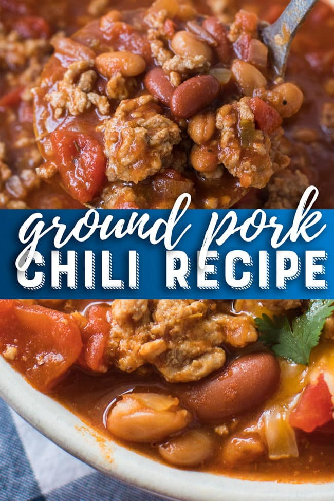 Ground Pork Chili Recipe - This easy pork chili is full of flavor. It's the best chili recipe ever! #chili #groundpork #pork #soup #dinner