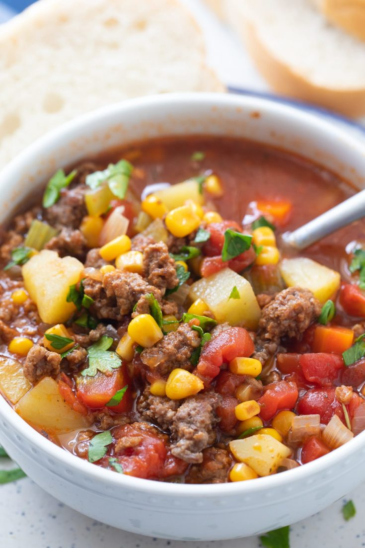 Easy Hamburger Soup Recipe (Ground Beef and Vegetable Soup!)