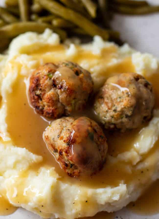 meatballs covered in gravy